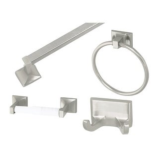 """Design House 534644 Bathroom Accessory Set with 24"""" Towel Bar, Towel Ring, Toile - n/a"""