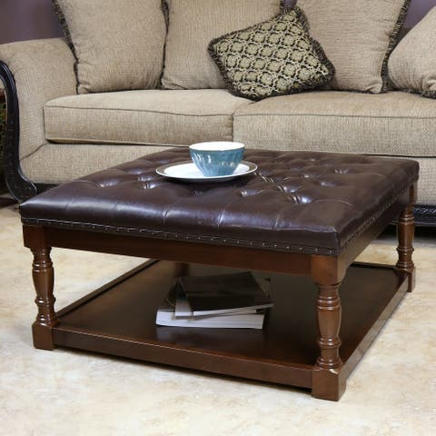Cairona Tufted PU Leather 34-Inch Shelved Ottoman Table (More Colors)