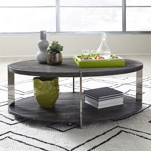 Paxton Charcoal with Chrome Plated Metal Oval Cocktail Table