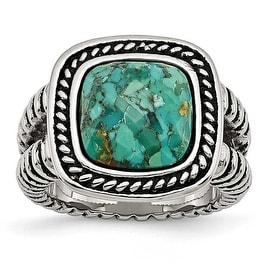 Chisel Stainless Steel Antiqued Imitation Turquoise Ring (15 mm)