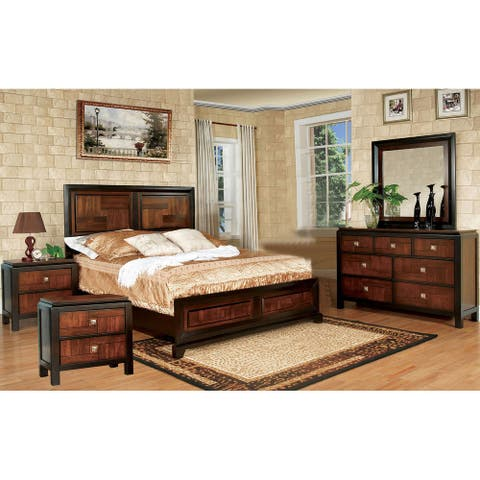 5 Piece Bedroom Set With Two Nightstands, Acacia and Walnut
