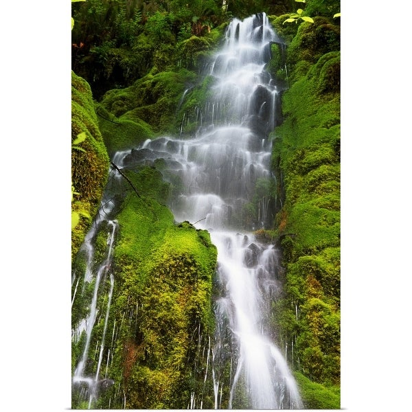 """""""Waterfall over mossy rocks, Oregon Cascades, Oregon, united states, """" Poster Print"""