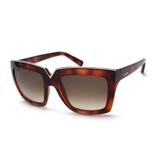 Valentino Women's Chic Squared Sunglasses Havana Brown - Small