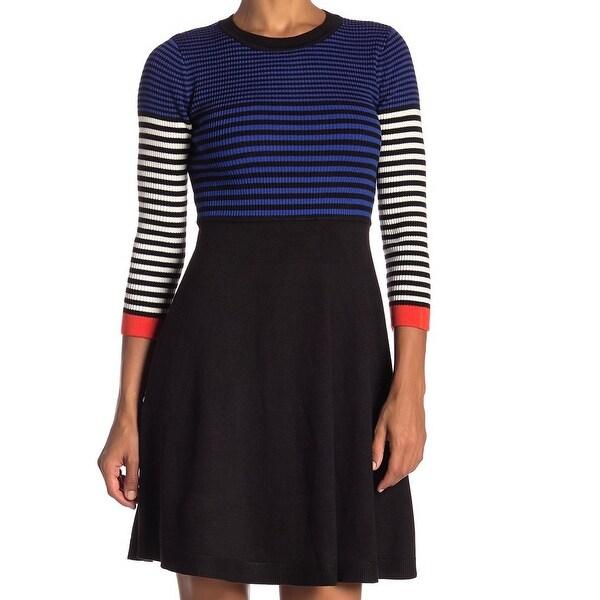 Eliza J Blue Womens Size XL Striped Colorblocked Sweater Dress