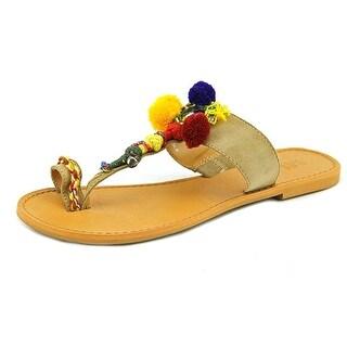 MIA Women's Dulcia Pom Bohemian Colorful Boho Slip On Flip Flop Sandal
