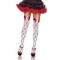 Diamond Card Suit Stockings - white/red/black - One Size Fits most