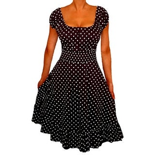 Funfash Plus Size Black Polka Dots Rockabilly Retro Womens Cocktail Dress