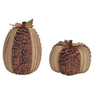 "Set of 2 Burlap and Pine Cone Pumpkin Decorative Table Top Decorations 10"""