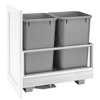 Rev-A-Shelf 5149-1527DM-2 5149 Series Bottom Mount Double Bin Trash Can with Soft Close Slides - 27 Quart Capacity per Bin