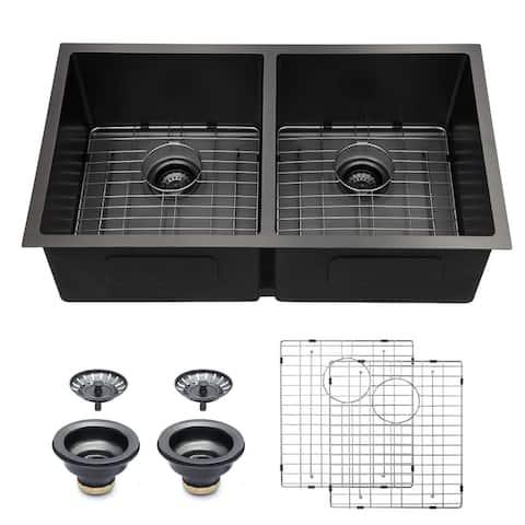 """33 in. Gunmetal Black Double Bowl Divide 16 Gauge Undermount 50/50 Stainless Steel Kitchen Sink - 33"""" x 19"""" x 10"""""""