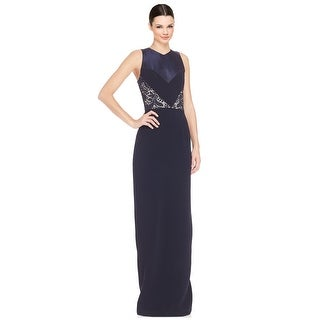Theia Lace Inset V-Neck Column Evening Gown Dress