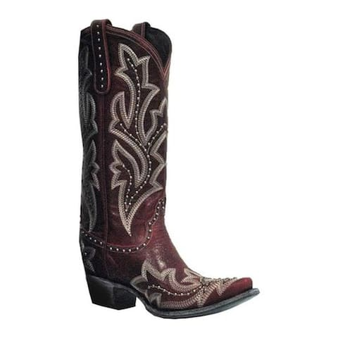 Lane Boots Women's Saratoga Stud Cowgirl Boot Red Full Grain Leather