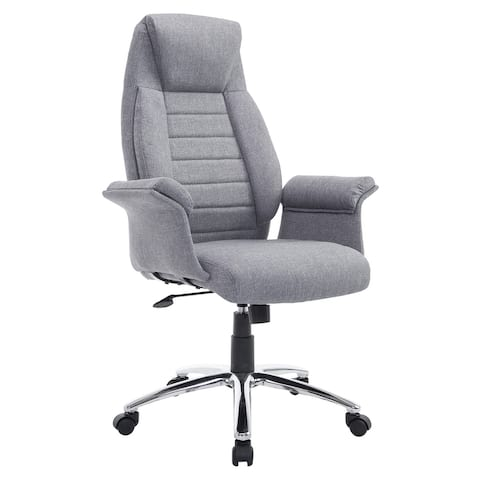 HOMCOM High Back Fabric Executive Chair with Padded Armrests, Ergonomic Home Office Chair with Headrest- Light Grey