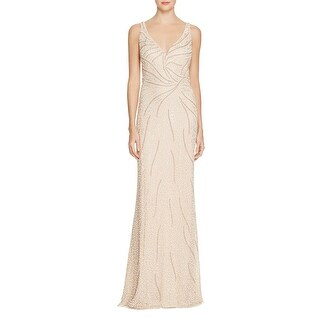 Aidan Mattox Womens Evening Dress Beaded Illusion