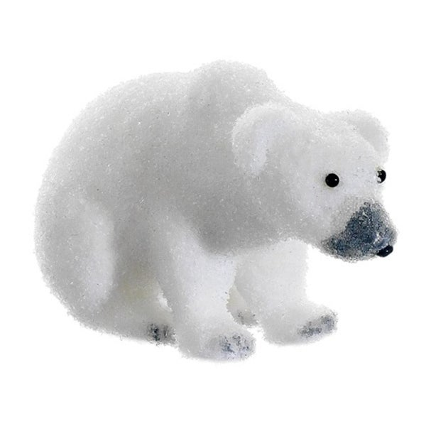 "9"" Snow Drift White Sitting Polar Bear Table Top Christmas Figure Decoration"