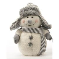 "12"" Winter Light Snowman with Gray Bombardier Hat and Snowflake Buttons Christmas Decoration - WHITE"
