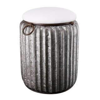 """20"""" White and Silver Gray Quinby Storage Stool - N/A"""