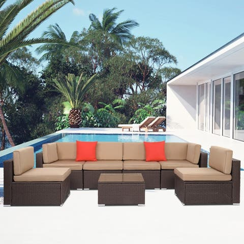 Patio Brown Wicker 7-Piece Sectional Sofa Seating Groups with Cushions
