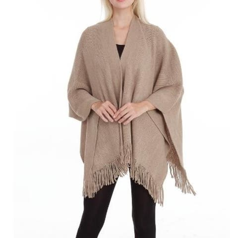 Women Cardigan Poncho Cape Elegant Cardigan Shawl Wrap Sweater Coat - One Size
