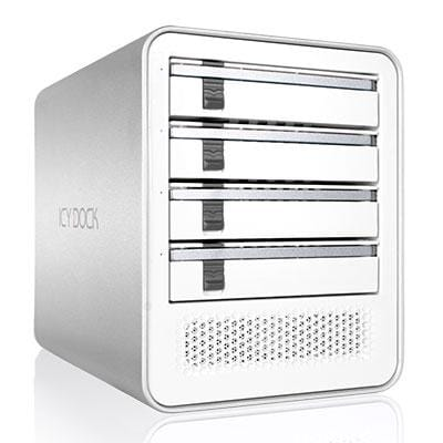 "Icy Dock Quad Bay 2.5"" 3.5"" Sata Hdd/Ssd Usb 3.0/Esata External Jbod Hard Drive Enclosure - White - Icycube Mb561u3s-4S"