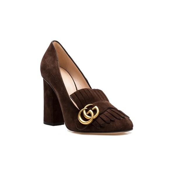 Gucci Women's Suede Block High Heel Pump Shoes Brown