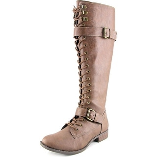 Rocket Dog Beany Wide Calf Women W Round Toe Synthetic Tan Knee High Boot