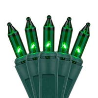"Wintergreen Lighting 17526 21.1' Long Outdoor Standard 100 Mini Light Holiday Light Strand with 2.5"" Spacing and Green Wire"