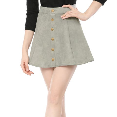 Unique Bargains Woman Button Closure Front Mid Rise Mini A-Line Skirt