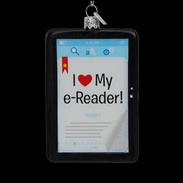 "4.25"" Noble Gems ""I Love My E-Reader"" Decorative Glass Christmas Ornament"