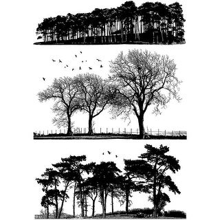 """Crafty Individuals Unmounted Rubber Stamp 4.75""""X7"""" Pkg-Trees"""