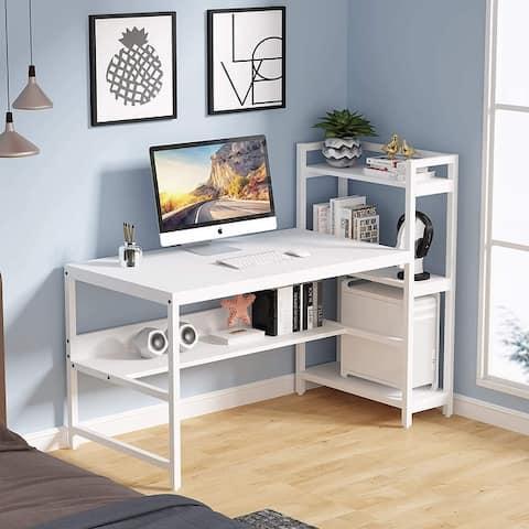 Tribesigns Computer Desk 60 inches Office Desk with Storage Bookshelf