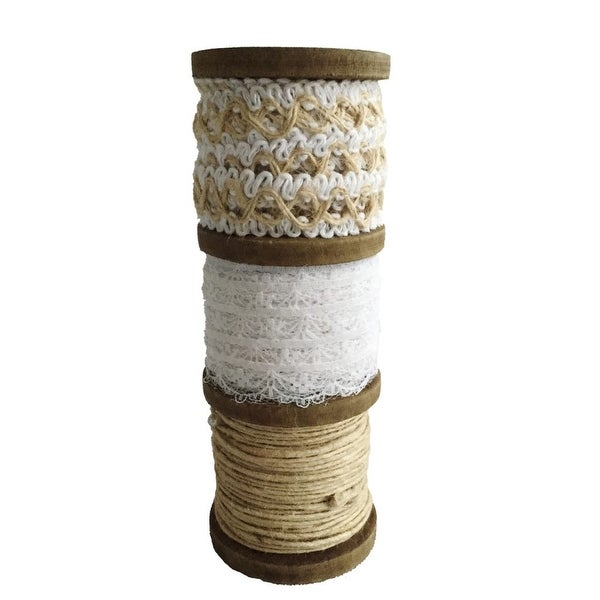 "5.5"" Brown and Beige Contemporary Roped Ribbon Spool - N/A"