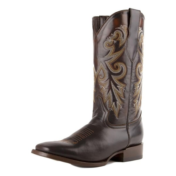 """Ferrini Western Boots Mens Roan 13"""" Square Toe Brown. Opens flyout."""
