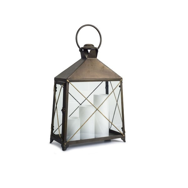 17 75 Brown And Gold Candle Lantern Tabletop Decoration Free Shipping Today 27443399
