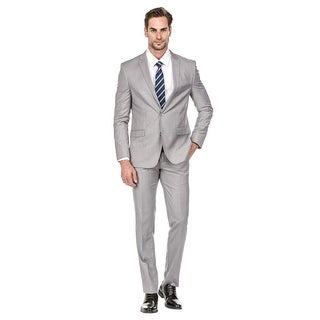 Porto Filo 2 Pcs Silver Slim-Fit Men's Suit (Jacket+ Pant)