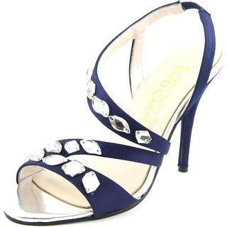 E! Live From The Red Carpet Goldee Women Open-Toe Canvas Blue Slingback Heel
