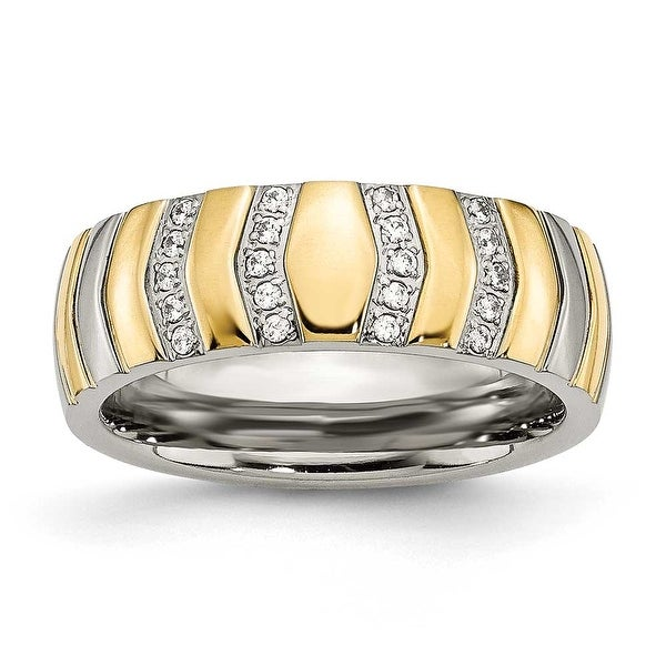 Chisel Titanium Polished Yellow IP-plated CZs 7mm Ring