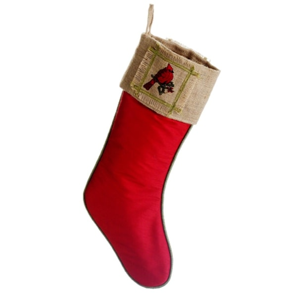 "19"" Red Cardinal & Holly Leaf Country Burlap Christmas Stocking"