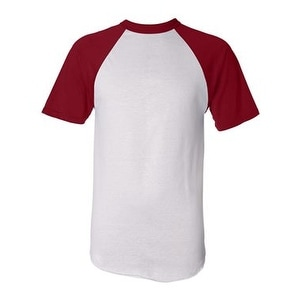 Augusta Sportswear Short Sleeve Baseball Jersey - White/ Red - S