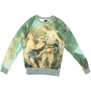 Zara Mens Heathered Graphic Crew Sweatshirt - L