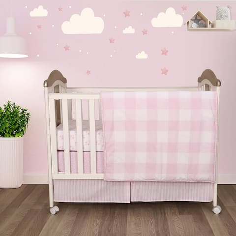 Cuddles & Cribs Soft Cotton 4 Piece Baby Crib Bedding Set with Reversible Comforter