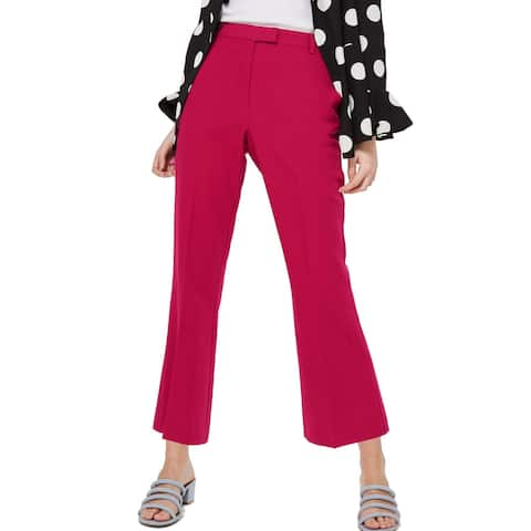 TOPSHOP Womens Dress Pants Pink US Size 6 Flat-Front Flare-Leg Solid