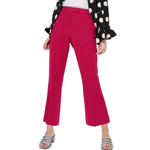 Topshop Women's Dress Pants Magenta Pink Size 6X26 Front-Tab Stretch