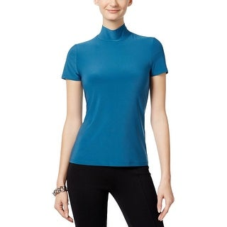 Anne Klein Womens Casual Top Mock Neck Short Sleeves