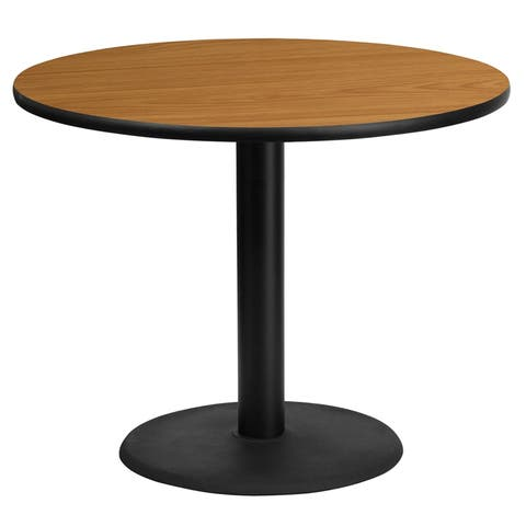 "Dyersburg 36'' Round Natural Laminate Table Top w/30"" High Round Base"