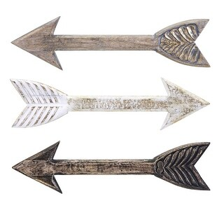 IMAX Home 14774-3  Kanna Three Piece Wood Arrows Wall Art Set - Multi-Colored