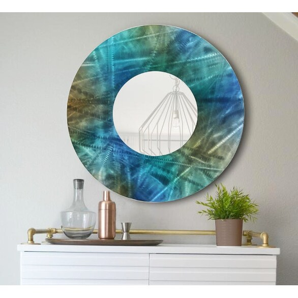Statements2000 Blue / Teal / Brown Metal Decorative Wall-Mounted Mirror by Jon Allen - Mirror 103