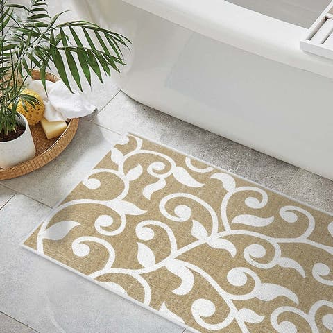 Bathroom Rugs 3 Piece Set - Non-Slip Ultra Thin Bath Rugs for Bathroom Floor - Washable Cotton Bathroom Mats Set - Geometric