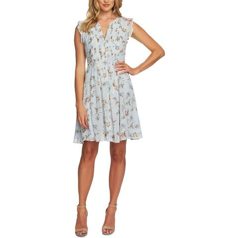CeCe Womens Scuba Dress Floral Pleated - Pearl Drop - 12