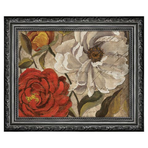 Premius Floral Small Traditional Framed Wall Art, Red-White, 9x11 Inches - Red-White - 9x11 Inches